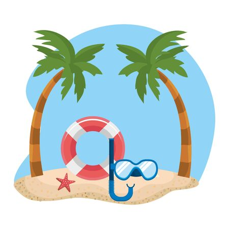 Palm tree and icon set design, Summer vacation tropical nature island and season theme Vector illustration 일러스트