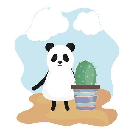 cute bear panda with exotic cactus in ceramic pot Illusztráció