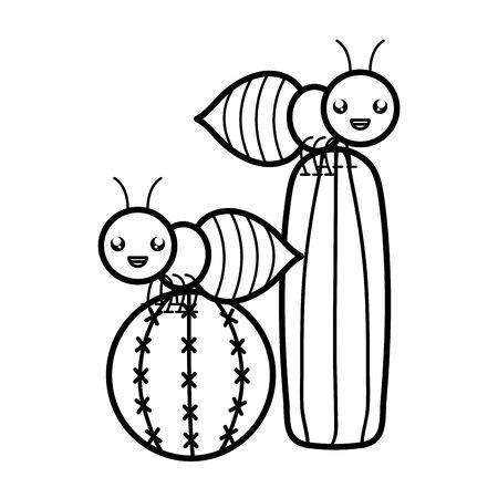 exotic cactus with ants character Illusztráció