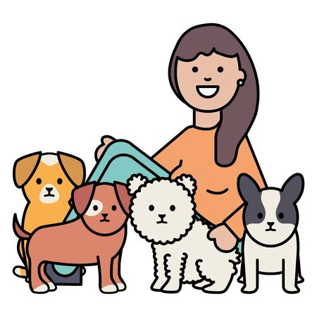 young woman with little dogs adorables mascots Illustration