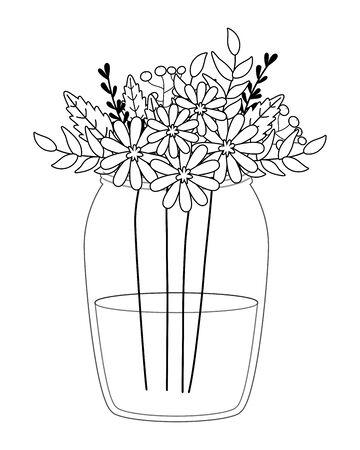 Flowers and leaves inside vase vector design Standard-Bild - 134857314