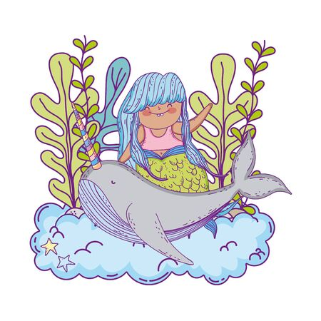 beautiful mermaid with narwhal fairytale character