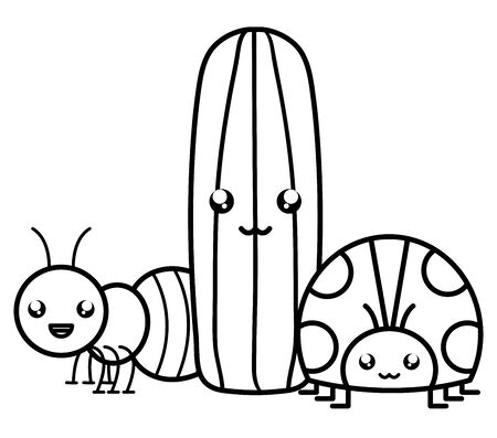 exotic cactu with ant and ladybug kawaii characters vector illustration design Stock Illustratie