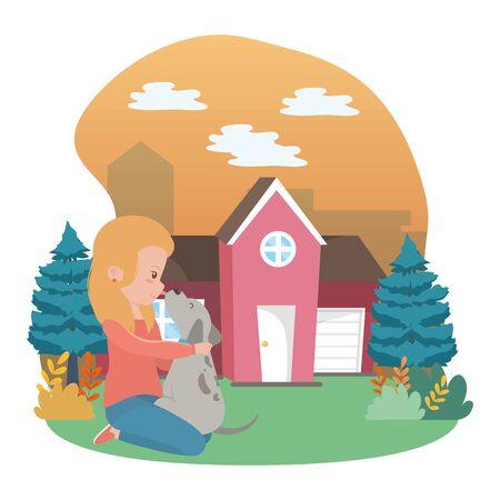 Girl with dog cartoon design Stock Vector - 134857349