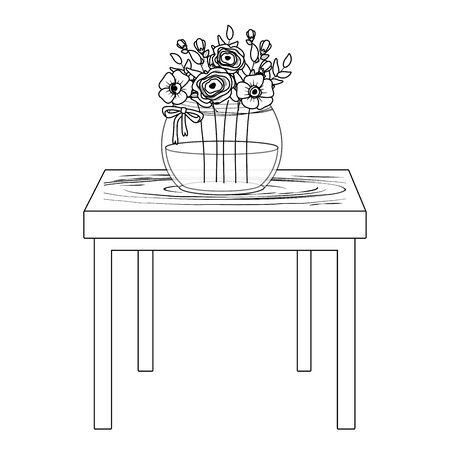 Flowers inside vase over table vector design Standard-Bild - 134857429