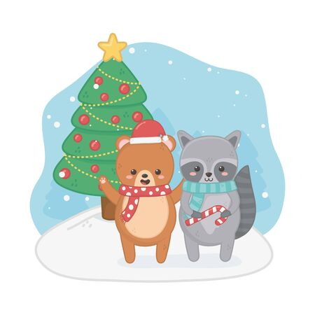 happy merry christmas card with bear teddy and raccoon vector illustration design 일러스트