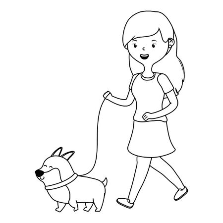 Girl with dog cartoon design Stock Vector - 134857441