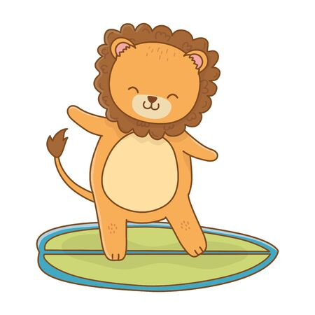 summer vacation relax time beach holidays scene cute little happy animal lion over surf table cartoon vector illustration graphic design Foto de archivo - 134775284