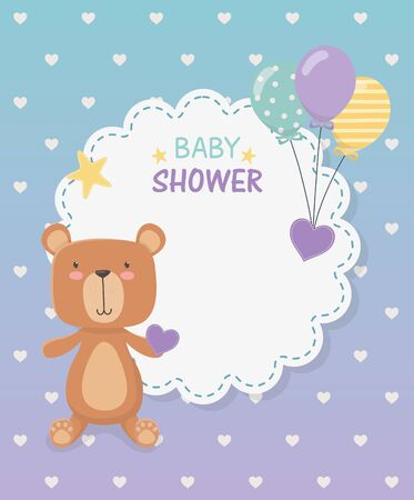 baby shower lace card with little bear teddy and balloons helium vector illustration 일러스트