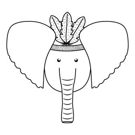 elephant with feathers hat bohemian style