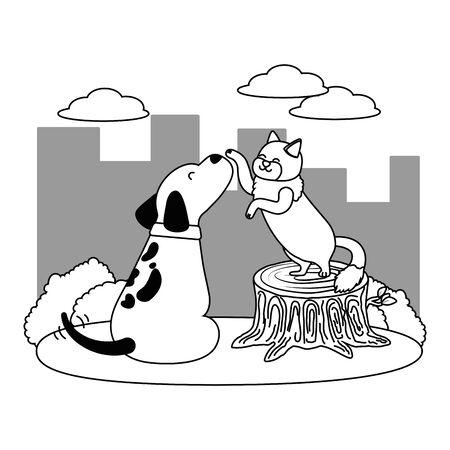 Cat and dog cartoon design Stock Vector - 134857484