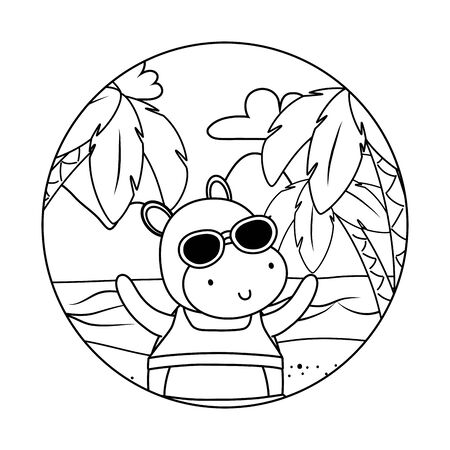 cute animal enjoying summer time cartoon Foto de archivo - 134857486