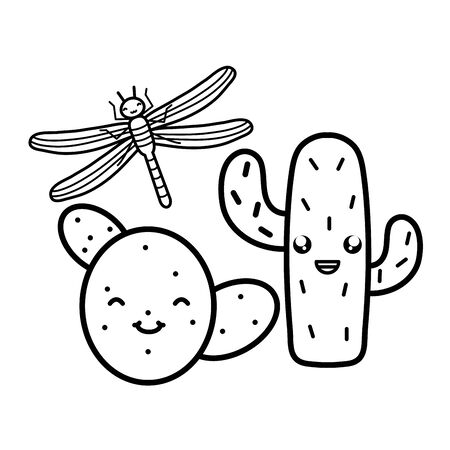 exotic cactus with dragon fly character