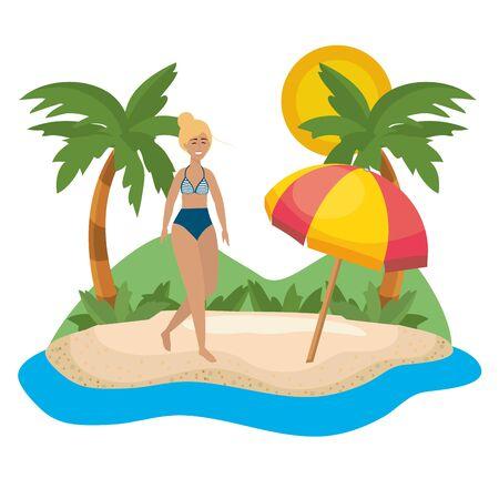 Girl with swim wear design
