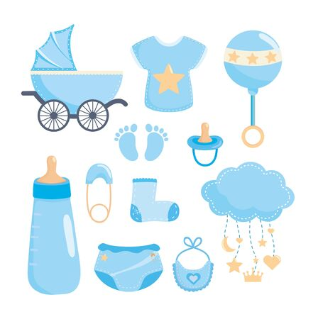 set of baby shower celebration and decoration to baby shower vector illustration