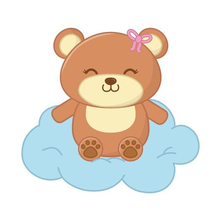 toy bear smiling with bow and sitting over a cloud vector illustration graphic design