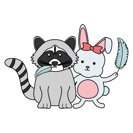 cute raccoon and rabbit bohemian style