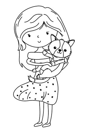 Girl with dog cartoon design Stock Vector - 134857735