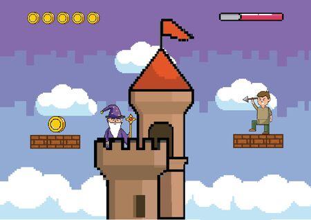 Arcade game world and pixel scene design 向量圖像