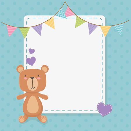baby shower square card with little bear teddy and garlands vector illustration