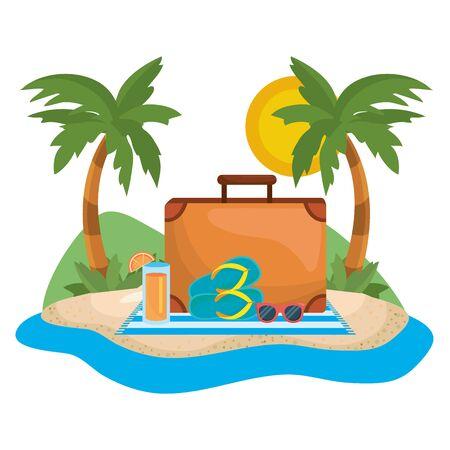Palm tree of summer season design Vektoros illusztráció