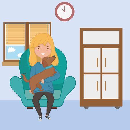 Girl with dog cartoon design Stock Vector - 134847848