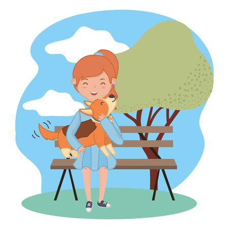 Girl with dog cartoon design Stock Vector - 134847873