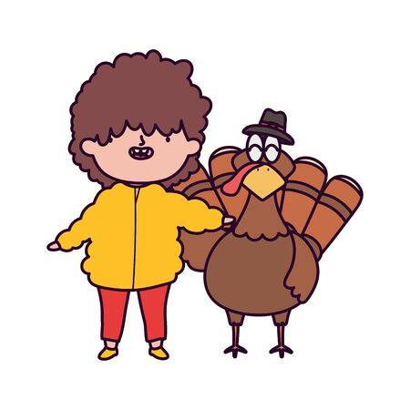 happy thanksgiving day little boy and turkey vector illustration
