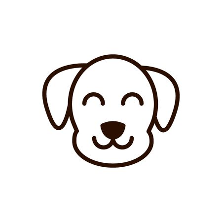 cute face dog animal cartoon icon thick line Illustration