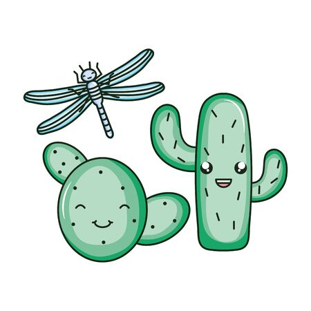 exotic cactu with dragon fly kawaii character vector illustration design Stock Illustratie