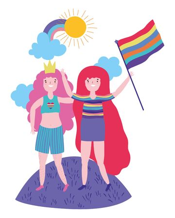 Women supporting lgbt march design vector illustration