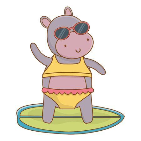 summer vacation relax time beach holidays scene cute little happy animal hippopotamus over surf table wearing sunglasses and swimwear cartoon vector illustration graphic design Foto de archivo - 134828607