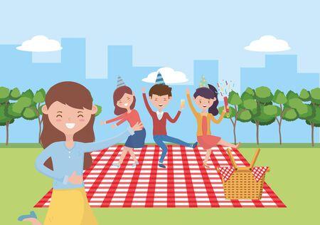 Menschenkarikaturen mit Picknick-Design, Food-Party-Sommer-Freizeit im Freien, gesundes Frühlingsmittagessen und Essensthema Vector Illustration