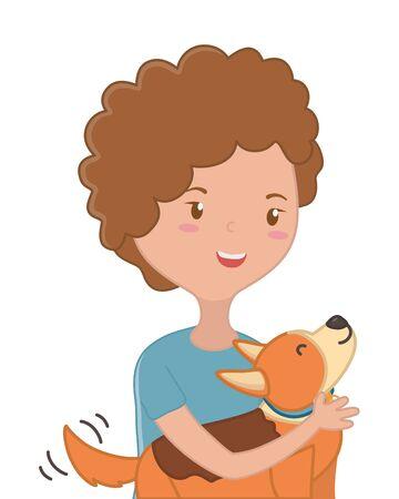 Girl with dog cartoon design Stock Vector - 134857105
