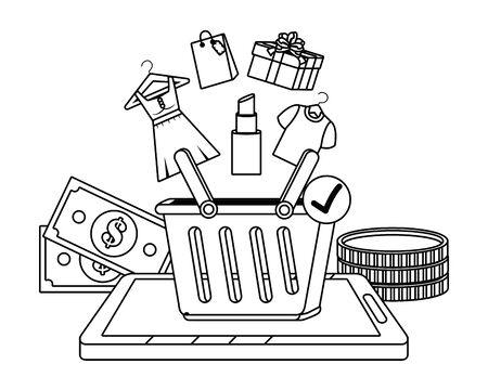 Tablet design, Store shopping online ecommerce media market and internet theme Vector illustration