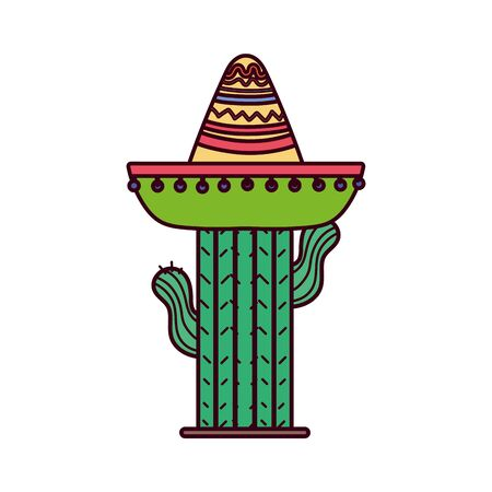 Isolated mexican cactus with hat vector design