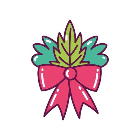 red bow ribbon leaves decoration merry christmas icon