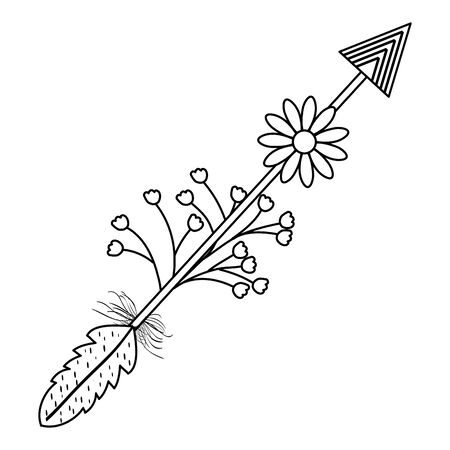 bohemian arrow with feathers and flowers vector illustration design