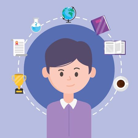 Avatar man design, learning online download reading electronic library technology digital and education theme Vector illustration Çizim