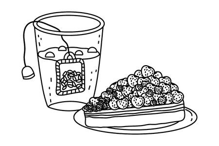 Tea glass and cake design, Drink breakfast beverage tradition kitchen and aromatic theme Vector illustration