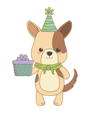 Dog cartoon design, Animal happy birthday celebration decoration and surprise theme Vector illustration Stock Vector - 134829233
