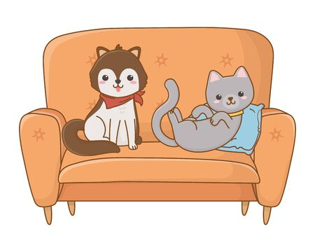 Cat and dog cartoon design vector illustration Stock Vector - 134857180
