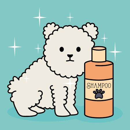 little dog adorable mascot with shampoo bottle