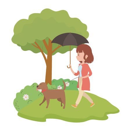 Girl with dog cartoon design, Mascot pet animal nature cute and puppy theme Vector illustration Stock Vector - 134829081