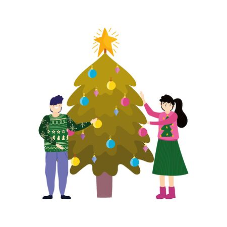 merry christmas couple with tree glowing balls celebration vector illustration