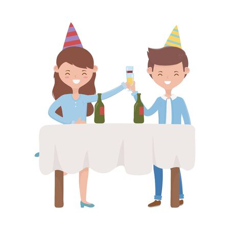 Woman and man with hat design, happy birthday celebration decoration party festive and surprise theme Vector illustration