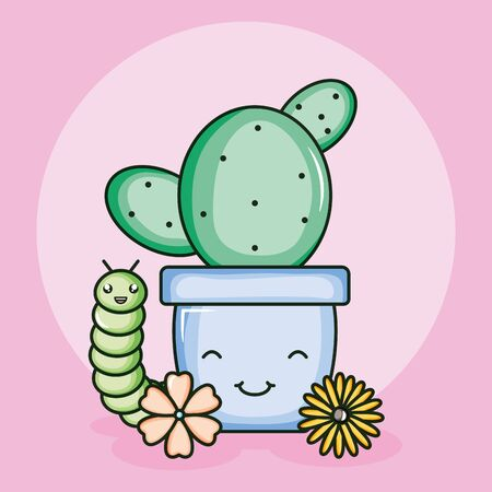 cactus in ceramic pot and worm style