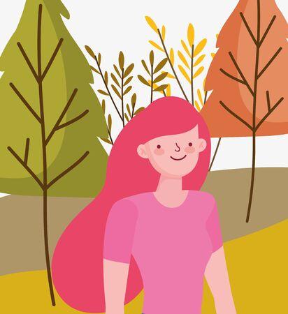 Woman cartoon in autumn vector design