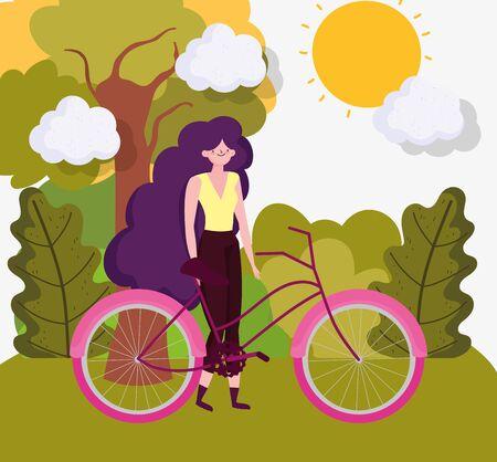 Woman cartoon with bike in autumn vector design