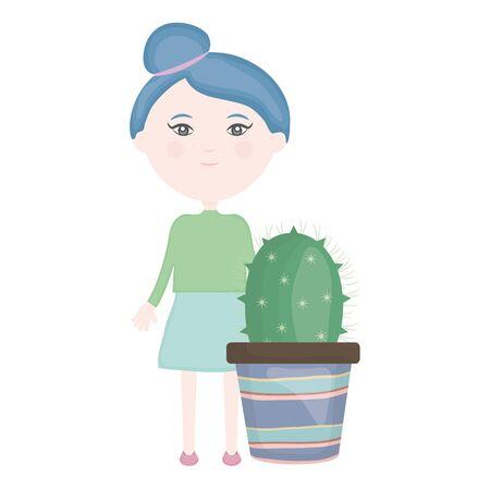 cute little girl with cactus in ceramic pot